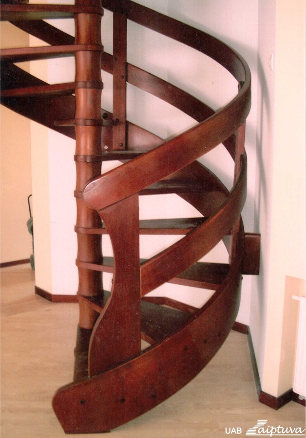 Wooden staircase with wooden railings